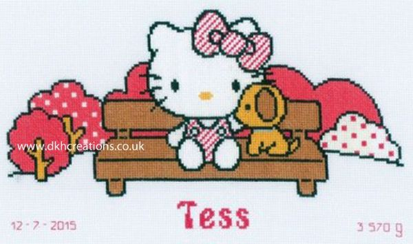 Hello Kitty In The Park Birth Sampler Cross Stitch Kit